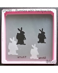 Easter bunny with backpack stencil by ibicci