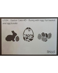 Easter Cake size stencil Easter bunny with eggs and kai basket stencil by ibicci