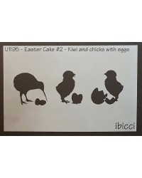 Easter Cake size stencil Kiwi and chicks with eggs and kai basket stencil by ibicci
