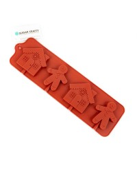 GINGERBREAD MAN and HOUSE lollipop SILICONE CHOCOLATE MOULD