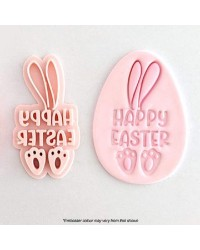 HAPPY EASTER WITH Bunny rabbit EARS and FEET Embosser stamp