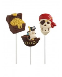 Pirate skull ship and treasure chest lollipop chocolate mould