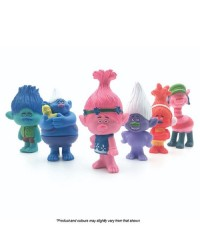 Trolls FIGURINES Cake topper 6 PIECE SET