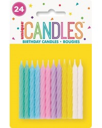 Spiral twist candles Pastel collection pack of 24