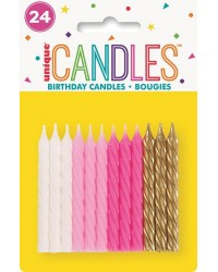 Spiral twist candles Pink and Gold collection pack of 24