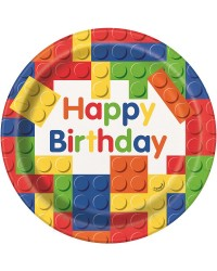 Building Blocks party plates pack of 8