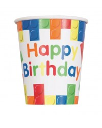 Building Blocks party cups pack of 8