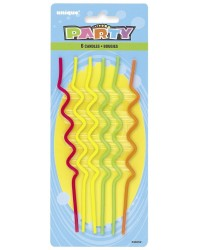 XL Long twirly NEON coloured candles pack of 6