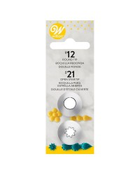 Set 2 piping nozzle tips standard no 12 and 21 by Wilton