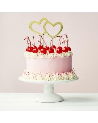 Gold Metal Cake Topper DOUBLE HEART