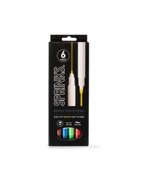 6 Marker pens by Sprinks Primary brights with black and brown