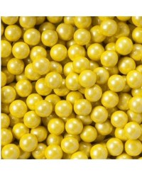10mm Pearl Golden Yellow sixlets (cachous or sugar pearls) 100g