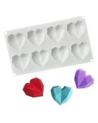 3d Small Geo heart silicone mould cake pan 8 cavity