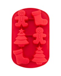 Christmas Shapes Silicone Treat Mould 6 Cavity tree gingerbread man stocking