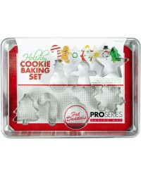 Fat daddios Christmas baking set cookie cutters half sheet pan and silicone mat