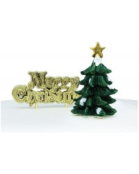 Christmas tree Green Resin Cake Topper and Gold Merry Christmas Motto