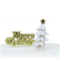 Christmas tree White Resin Cake Topper and Gold Merry Christmas Motto