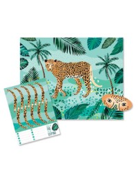 Wild jungle party game pin the tail on the leopard