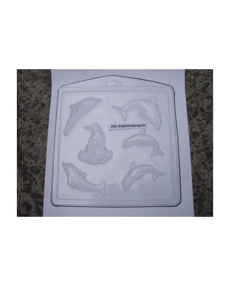 image: Dolphins & penguin chocolate mould