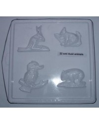 image: Australian animals chocolate mould Kangaroo Wombat Koala Kooka