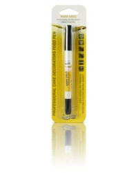image: Edible marker pen Dark Gold Double ended thick & thin