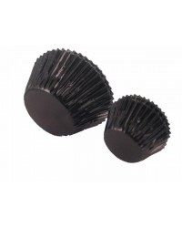 image: Foil baking cups black mini cupcake papers