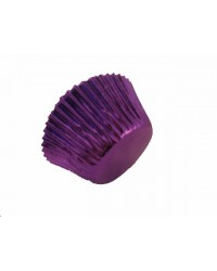 image: Foil baking cups purple mini cupcake papers