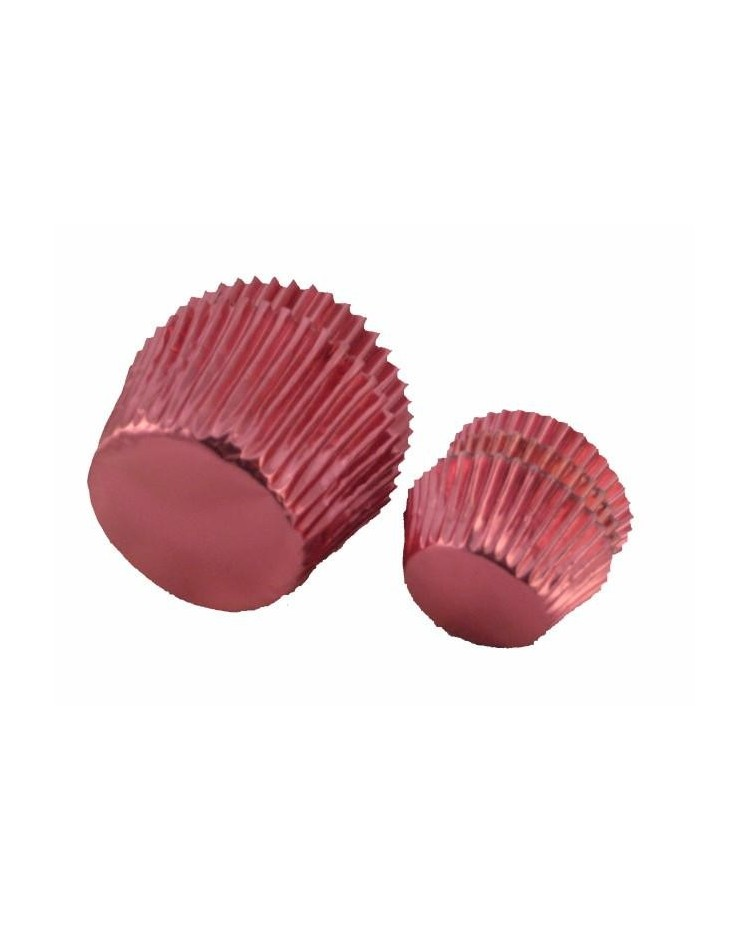 image: Foil baking cups pink mini cupcake papers