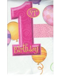 image: 1st birthday party tablecover PINK