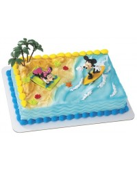 image: Mickey & Minnie Mouse surfing cake topper set