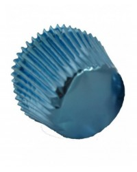 image: Foil baking cups blue mini cupcake papers