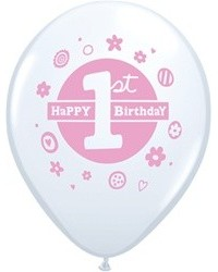 image: First Birthday Balloons PINK (6)