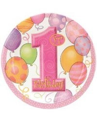 image: 1st birthday party plates (8) PINK