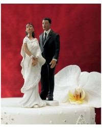 image: Bride Indian white sari Mix & Match cake topper