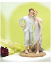 image: Bride & Groom cake topper Beach couple standing