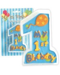 image: Numeral candle My 1st birthday BLUE