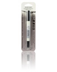 image: Edible marker pen Silver grey Double ended thick & thin