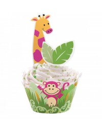 image: Jungle Pals cupcake wrappers & pix set