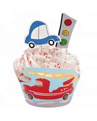 image: Wheels cupcake wrappers & pix set