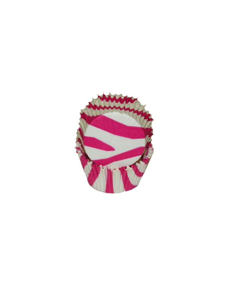 image: Zebra stripe (HOT Pink & white) baking cups cupcake papers
