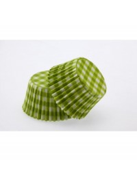 image: Gingham GREEN standard cupcake papers