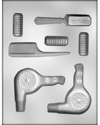 image: Hair stylist or hairdresser tools chocolate mould