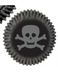 image: Skulls & scrolls mini cupcake papers