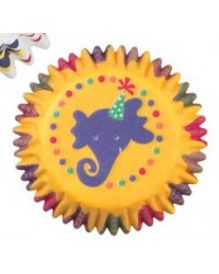 image: Big top circus elephant & animals mini cupcake papers