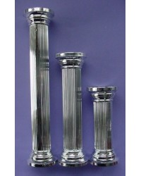 "image: Silver round pillar 7"" set of 4"