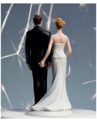 image: Bride & Groom cake topper The love pinch (dark skin tone)