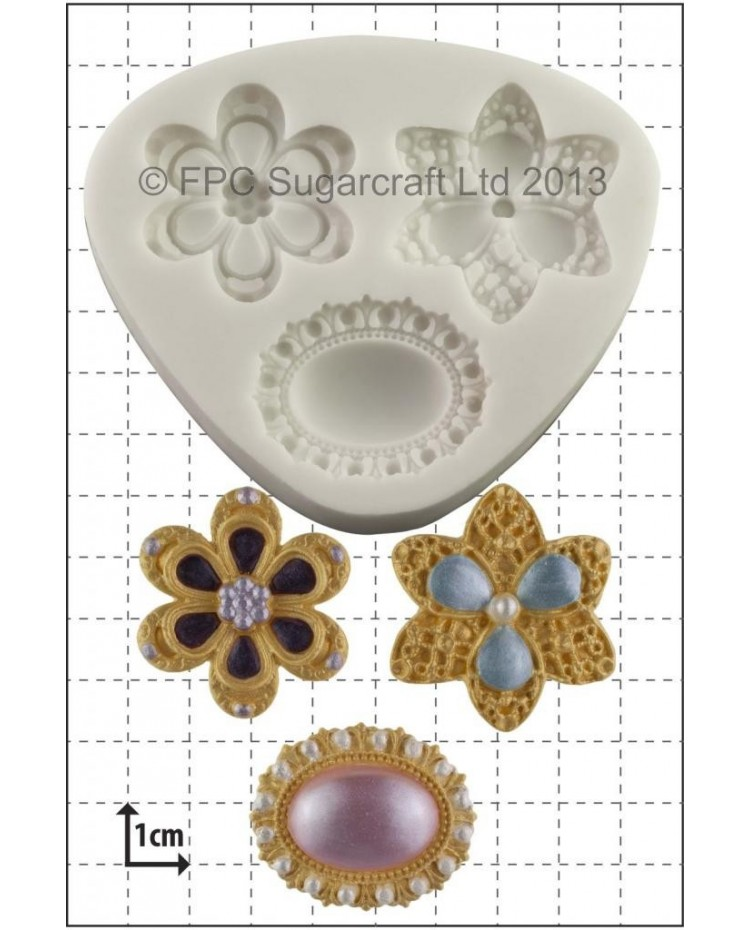 image: Three Brooches (cake jewellery) silicone mould