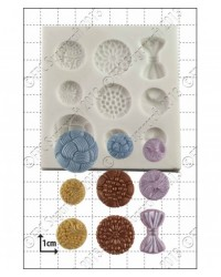 image: Buttons antique assorted & bow silicone mould