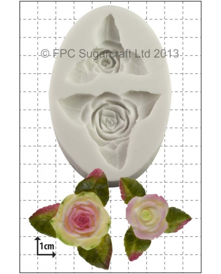 image: Roses & leaves (DUO) silicone mould