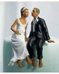 image: Whimsical couple bride & groom cake topper (ethnic skin tone)